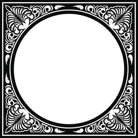 Vector circular ornament in modern style. Black drawing on white background.