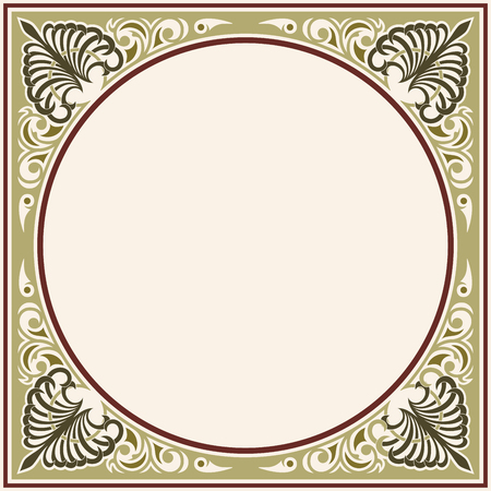 Vector circular ornament in modern style. Drawing isolated on beige background. Reklamní fotografie - 123970929