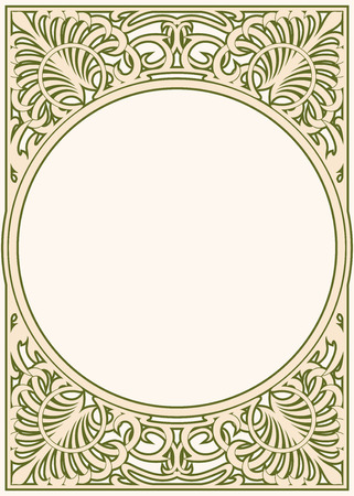 Vector circular ornament in modern style. Drawing isolated on beige background. Ilustrace