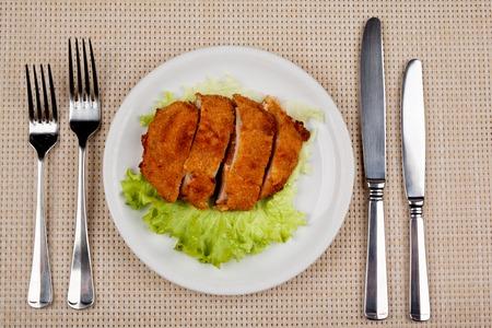 Food in the plate. Reklamní fotografie - 123970933