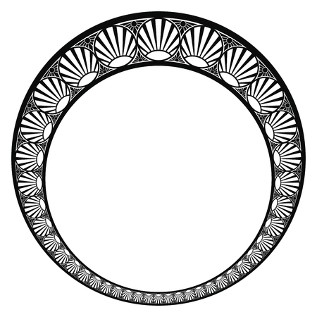 Vector circular ornament in modern style. Black drawing on white background. Reklamní fotografie - 123970938