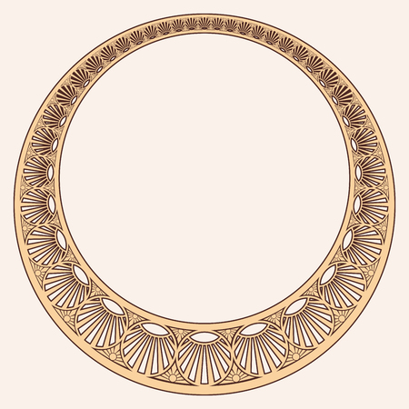 Vector circular ornament in modern style. Drawing isolated on beige background. Reklamní fotografie - 123970899