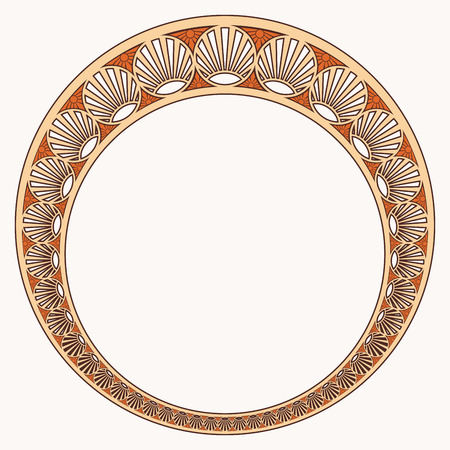 Vector circular ornament in modern style. Drawing isolated on beige background. Illustration