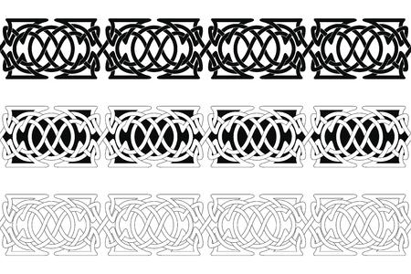 Set of Seamless Celtic national ornament interlaced ribbon isolated on white background. Element for graphic design. Reklamní fotografie - 123970903
