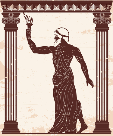 Ancient Greek hero Prometheus in a tunic with a fiery torch in his hand. Reklamní fotografie - 123970906