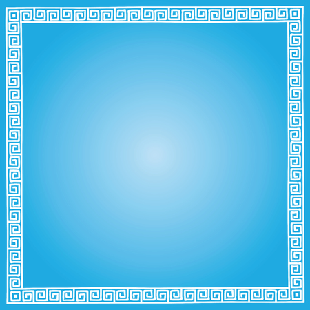 Gradient blue background with ancient Greek national ornament meander.