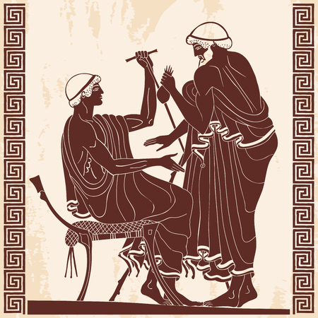 Two ancient Greek men with a staff and a purse of money in their hands are talking. Figure on a beige background with the effect of aging and ornament. Reklamní fotografie - 124216118