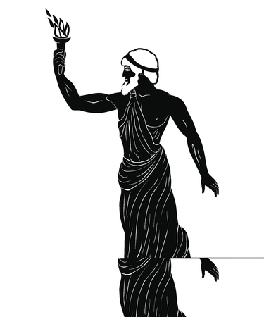 Ancient Greek hero Prometheus in a tunic with a fiery torch in his hand. Illustration