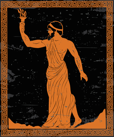 Ancient Greek hero Prometheus in a tunic with a fiery torch in his hand. Vectores