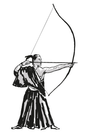 A Japanese samurai warrior in kimono with a bow and arrow in his hands is aiming at a target. Reklamní fotografie - 123970915