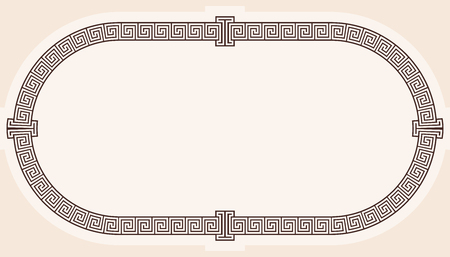Oval frame in the greek style isolated on white background.