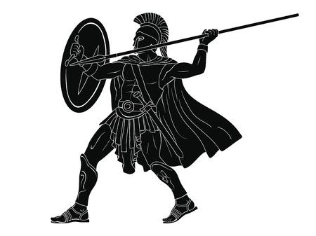 Guerrero romano antiguo. Ilustración de vector