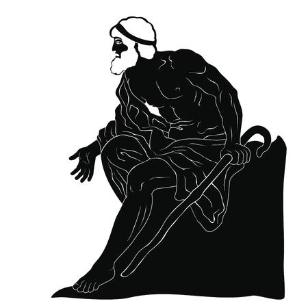 Ancient Greek old man. Stock Vector - 123970806