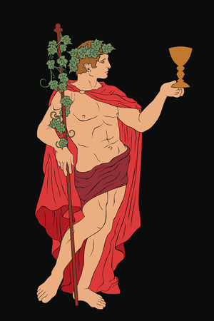 The ancient Greek god Dionysus with a glass and a rod. Vector image isolated on black background.