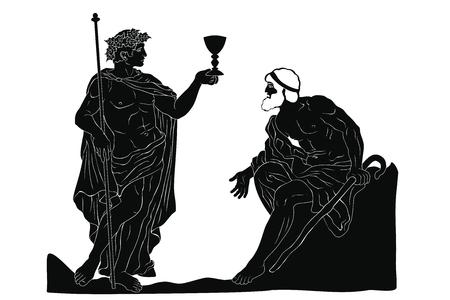 Der altgriechische Weingott Dionysos mit einem Glas in der Hand und der alte Mann mit einem Stab im Dialog. Vektorbild isoliert auf weißem Hintergrund.