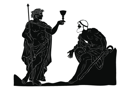 The ancient Greek god of wine Dionysus with a glass in his hands and the old man with a staff engaged in a dialogue. Vector image isolated on white background.