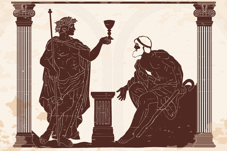 The ancient Greek god of wine Dionysus with a glass in his hands and the old man with a staff engaged in a dialogue in the temple between two columns. Illustration