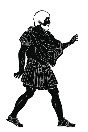 An old man ancient Roman warrior in armor stands, speaks and gestures. Vector illustration isolated on white background.