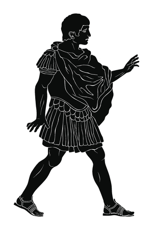 A young ancient Roman warrior in armor stands, speaks and gestures. Vector illustration isolated on white background.