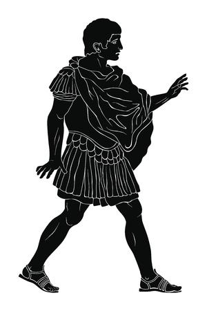 Un joven guerrero romano antiguo con armadura se pone de pie, habla y hace gestos. Ilustración de vector aislado sobre fondo blanco.