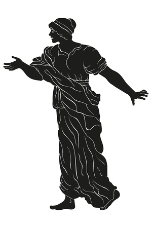 An ancient Greek woman in a tunic is standing, speaking and making a gesture. Vector image isolated on white background. Illustration