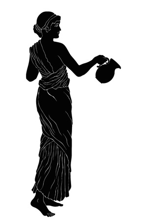 An ancient Greek woman in a tunic is standing with a jug in her hands. Vector image isolated on a white background. Vectores