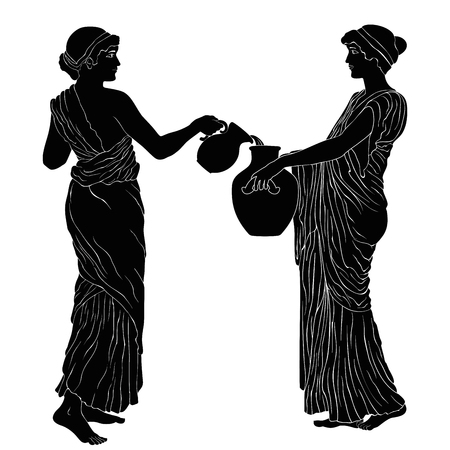 Two ancient Greek women poured wine from a jug. Vector image isolated on white background. Vectores