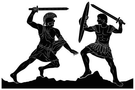 Altgriechischer Krieger. Vektorgrafik