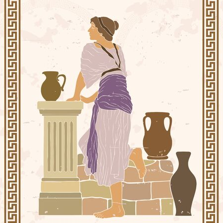 A young woman stands near a stone parapet with jugs. Vector image in ancient greek style. Ilustrace