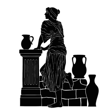 A young woman stands near a stone parapet with jugs. Vector image isolated on white background. Ilustrace