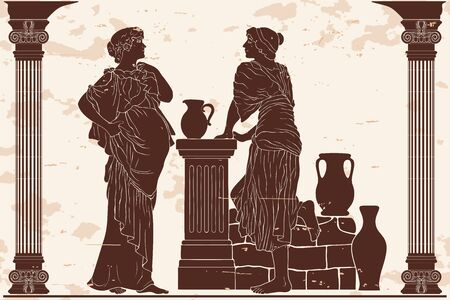 A pregnant woman in the ninth month in a tunic is standing. Vector image in ancient greek style.