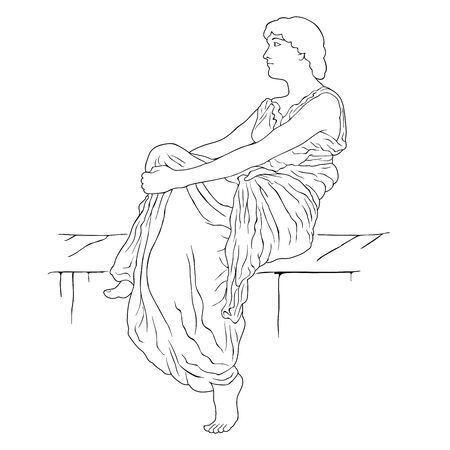 An ancient Greek woman in a tunic sits on a stone pedestal. Vector image isolated on white background.