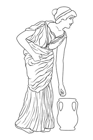 A young woman in a long dress leans to a jug. Vector image in ancient greek style isolated on a white background.