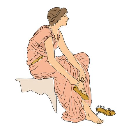 An ancient Greek young woman sits and takes off her sandals. Vector image isolated on white background.