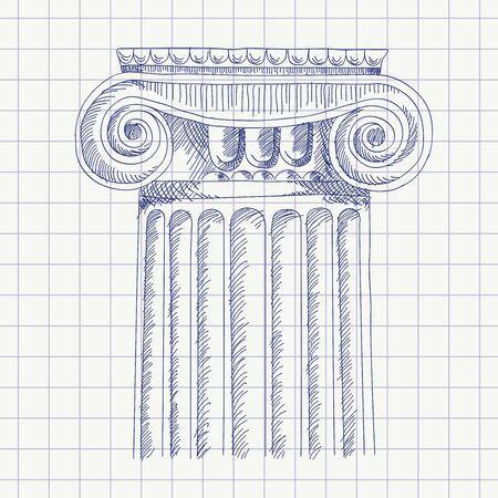 Croquis de la colonne. Vecteurs
