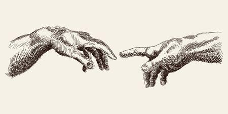 La mano sobre un fondo blanco.