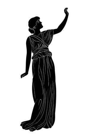 An ancient Greek woman. Çizim