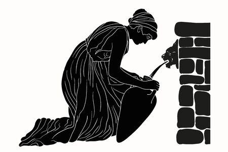 Un'antica donna greca si siede vicino a un parapetto di pietra e riempie d'acqua una brocca. Immagine vettoriale isolato su sfondo bianco.