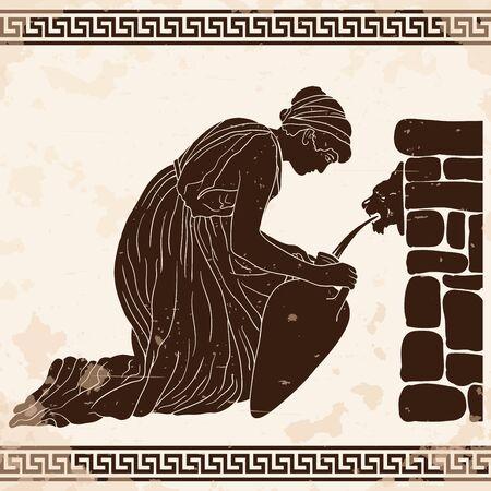 Un'antica donna greca siede vicino a un parapetto di pietra e riempie d'acqua una brocca. Immagine vettoriale isolato su sfondo bianco.