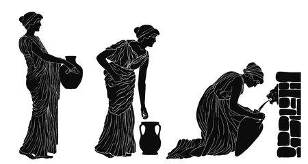 Un'antica donna greca siede vicino a un parapetto di pietra e riempie d'acqua una brocca. Due donne sono in fila. Immagine vettoriale isolato su sfondo bianco.