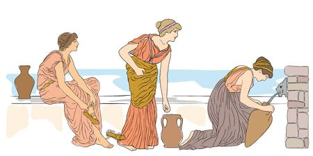 An ancient Greek woman sits near a stone parapet fills water in a jug. Two women are standing in line.