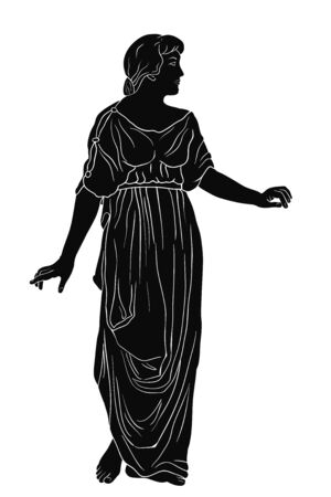 An ancient Greek woman in a tunic and barefoot stands and looks away. Vector image isolated on white background.