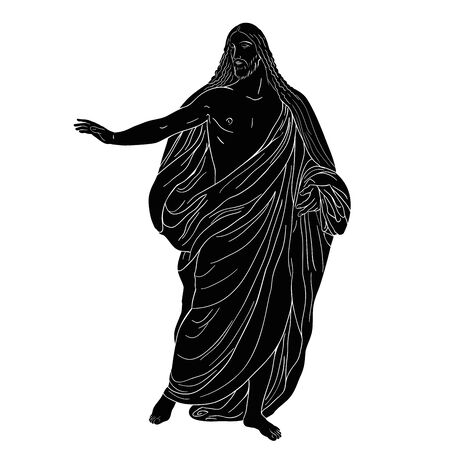 Jesus Christ in a shroud stands holding up his hand. Vector image isolated on white background.