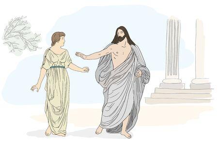 Gesù Cristo e Maria Maddalena stanno in piedi e conducono un dialogo. Immagine vettoriale isolato su sfondo bianco.