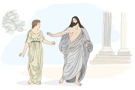 Jesus Christ and Mary Magdalene stand and lead a dialogue. Vector image isolated on white background. Illustration