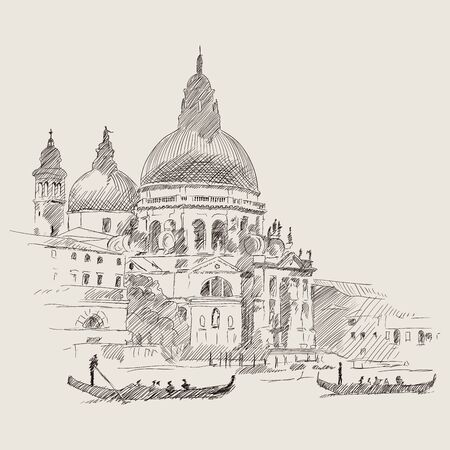Scenery of the old city of Venice. Ancient buildings, a water channel and a boat floating on the water. Pencil sketch.