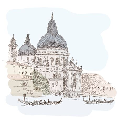 Scenery of the old city of Venice. Ancient buildings, a water channel and a boat floating on the water. Imitation of watercolor. Ilustração