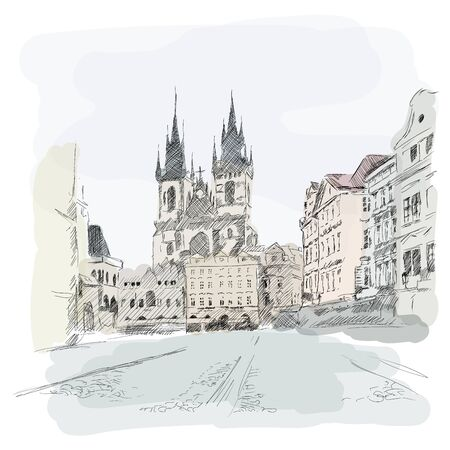 Temple of the Virgin Mary in Prague. A quick sketch with a pencil.