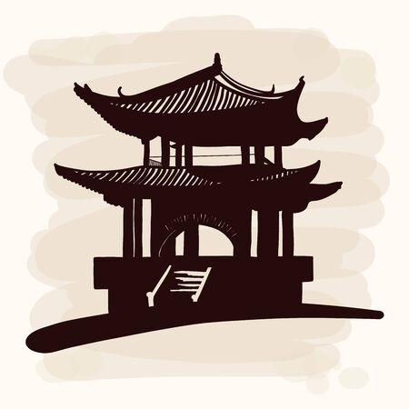 Chinese national building pagoda. Vector drawing. Imitation of watercolor. Ilustração