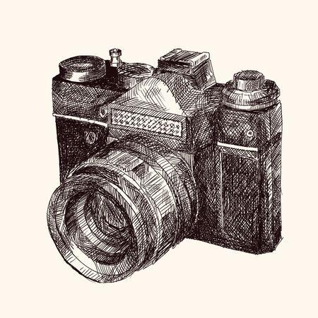Film retro camera. Hand sketch in vector.